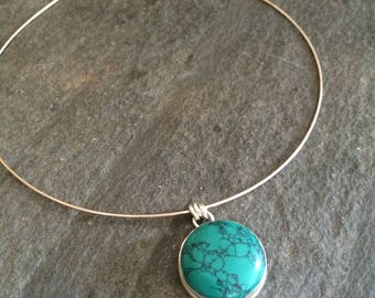 Sterling Silver Turquoise choker necklace blue Turquoise pendant necklace real Turquoise gemstone necklace December Birthstone jewelry gift