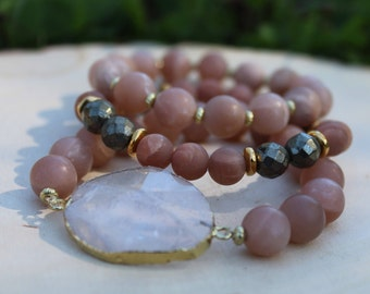 Peach Moonstone Bracelet Stack -Peach and Gold - Quartz Bracelet Set-Oliver Grey Jewelry -Gemstone Bracelet Set - Hematite bracelet