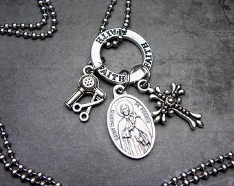 Hairstylists & Barbers Patron Saint Martin de Porres Catholic Holy Medal Charm Necklace Catholic Jewelry