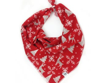 Festive Reindeer Red Christmas Dog Bandana