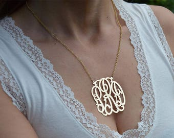 Gold monogram necklaces, 0.5-2 inches,10k solid gold monogram, White gold monogram, Initial monogram pendant.