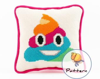 Emoji Rainbow Poop Needlepoint or Cross-stitch Pattern, Instant Download File, Unicorn Glitter Poop, Modern Fun Stitching, Needlepoint Emoji