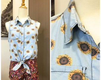 90s Retro Vintage Yellow Blue Denim Sunflower Collared Floral Summer Daisy Top Blouse