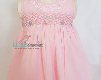Beautiful baby pink spot voile hand smocked and embroidered dress - sizes 3-6 months and 6-9 months