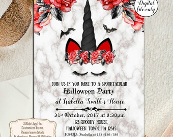 Digital Halloween Gothic Unicorn Party Invitations - Digital Halloween Invite, Party Invitations, Spooky Halloween,Birthday Invitation,