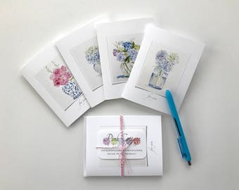 Stationery, Note cards, floral cards, stationery gift, hostess gift, hydrangea card, flower stationery, thinking of you cards