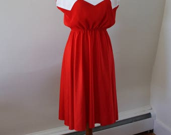 Vintage 70s Red and White Pleated Midi Dress - Union Made in USA
