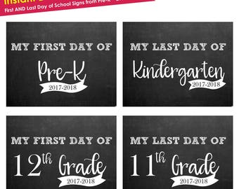 first day of school sign instant download- Back to School Sign- Printable First Day of School Sign ALL GRADES year 17 & 18- chalkboard sign
