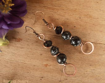 Snowflake obsidian and copper wire earrings Simple copper earrings Wire wrapped black earrings Snowflake obsidian jewelry Copper jewelry