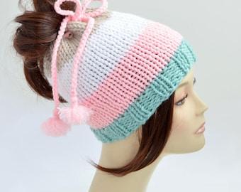 Hat Knitting Pattern // Ponytail Hat Pattern, Tassel Hat, Ponytail Beanie, Womens Hat Pattern, Tassel Pattern Pony Tail Hole Hat PDF Pattern