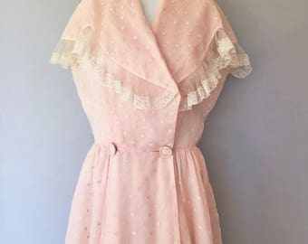 Organdy House coat Dress Pink Polka dot Organdy Floor Length Costume By Dorian, Lucy Style,