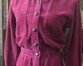 Vintage CORDUROY MIDI DRESS, Raspberry red/pink, long sleeves, button down, Collar & Fitted Waist. 1990s retro Fall Winter! Amazing Color!