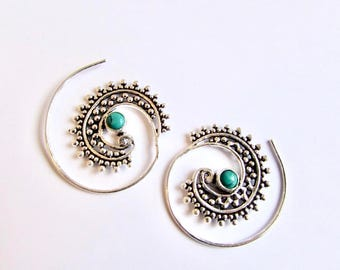 White Brass Small Dotted Design Spiral Earrings Turquoise Gemstone Tribal Earrings Mandala Jewellery Free UK Delivery Gift Boxed WB62 WBS1