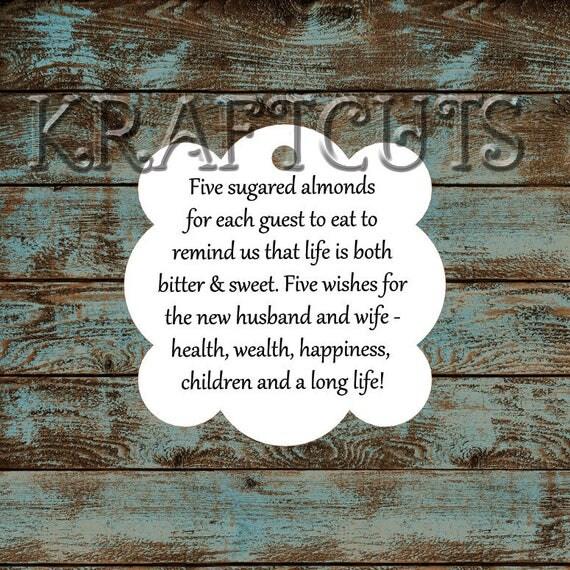 Favor Tags, Jordan Almond Favor Tags, Sugared Almond Favor Tags, Italian Wedding Favor Tags #651 - Qty: 30 Tags