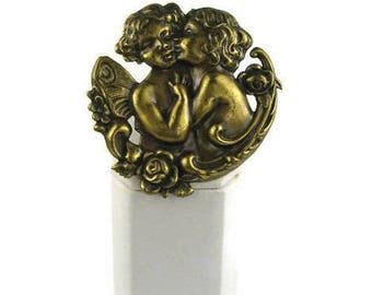 Brass Cherubs Brooch