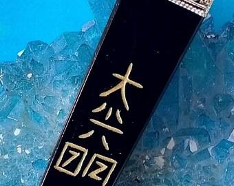 "Large 4"" Solid BLACK TOURMALINE Engraved 4 Sided Usui Reiki Energy Tower Obelisk or WAND"