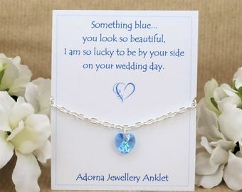 Gift for the Bride, Something Blue, Swarovski Crystal Heart Silver Anklet Bracelet, from Mum Sister Best Friend Bridesmaid Maid of Honour