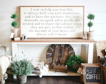 2'X4' The Vow Movie Quote I Vow To Help You Love Life Framed Wood Sign