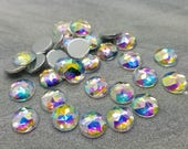 12mm Rainbow Clear Multifaceted Rhinestone Resin Cabochons -10pcs - E13:8