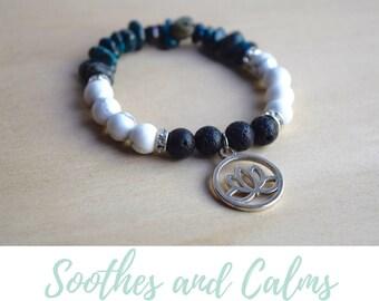 Lotus Yoga Bracelet / calming bracelets, anxiety relief gift, stress relief gifts, zen lotus jewelry, white howlite bracelet, chrysocolla
