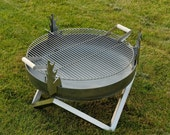 Steel Fire Pit YANARTAS with a Stainless Steel Grill BBQ