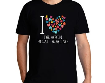 I Love Dragon Boat Racing Colorful Hearts T-Shirt