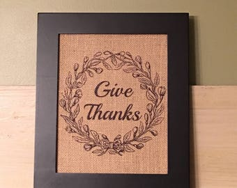 Give thanks burlap print, give thanks burlap sign, give thanks print, thanksgiving decor, fall decor, burlap sign, fall burlap print