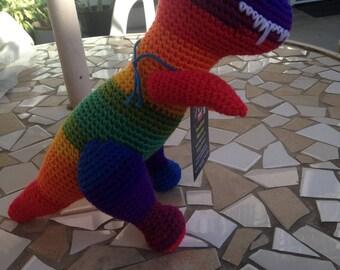 Rainbow T Rex, Tyrannosaurus Rex, Rainbow Dinosaur, Rainbow Toy, Dinosaur Plushie, Rainbow Stuffed Animal, Handmade Plushie, Rainbow Animal