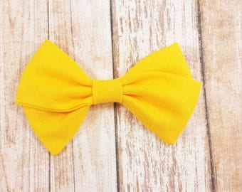 Golden Yellow Hand Tied Fabric Bow Clip or Nylon Headband / Gold Yellow Hand Tied Bow / Sailor Bow Headband / Yellow Fabric Sailor Bow Clip