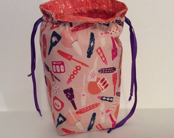Makeup Artist Drawstring Trash Bag, Pink & Orange