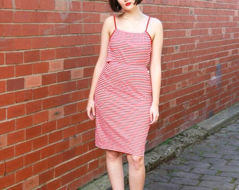 WINTER SALE 20% OFF Vintage 1970s Red Candy Stripe Dress / Cotton Striped Sundress / Made in Italy / Xs/S