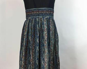 Vintage Blue Floral Dress Long Sundress 1960s 1970s Boho Hippie Festival