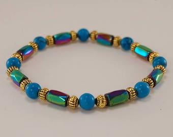 Rainbow Multicolor Magnetic Hematite Bracelet,Man,Woman,health,Healing,Relieve,Protection,Meditation,Yoga,Boho,Energy,Stretch,Man,Woman,Gift