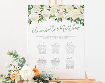 Printable Wedding Seating Chart, Floral Seating Chart, Digital File, Rustic Wedding Seat Assignments, Wedding Seating Chart