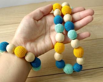 Necklace with a bracelet - nursing necklace - newborn necklace - Bright Necklace - ukrainian necklace - moms necklace - chew bead necklace