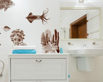 Bathroom Wall Decals Etsy