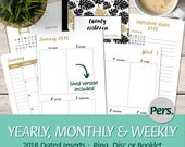 2018 Week On Two Pages Vertical, Monday and Sunday Start Calendars, Weekly Tasks- Ring, Disc and Booklet - Printable Planner Insert, PDF