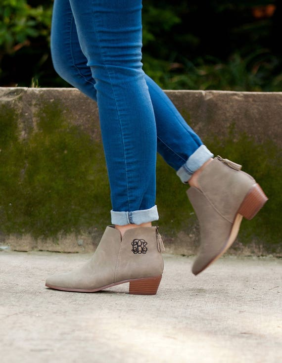 Taupe Monogrammed Short Boot