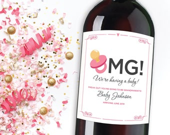 OMG We're Having a Baby Wine Label, Pregnancy Announcement Wine Label, Best Sisters Get Promoted to Aunts Card, Pregnancy Reveal to Friends