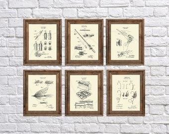 Fly Fishing gifts, fishing wall art set of 6 fishing patent prints Fishing Reel Fishing Lure ,  gift for Dad, Gifts for men, retirement gift