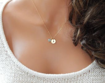 Initial Birthstone Necklace • Valentines Day Gift for Girlfriend • Her • Sister • Mom Personalized Monogram • Handstamped[CUD9 18-201]