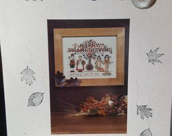 "ZERO Shipping!  Sue Hillis Designs ""Happy Thanksgiving"" with Pumpkin Button Charm - 2000"