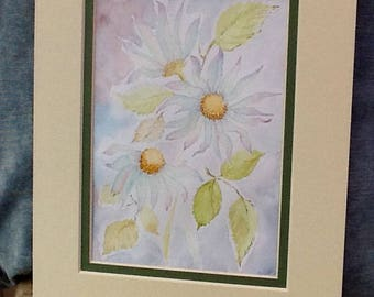daisy painting,  water colour,  original painting, Christmas gifts, garden flowers, nature and wildlife, collectors,  home decor,