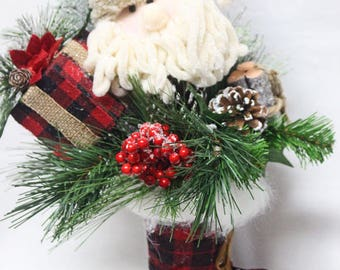 Rustic Christmas Centerpiece, Christmas Centerpiece, Holiday Christmas Santa,Country Santa Christmas, Plaid Country Christmas