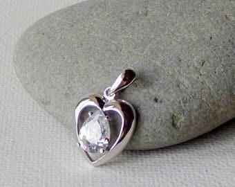Sterling Silver Pear Shape Cubic Zircon Pendant Vintage 925 CZ Heart 925 Pendant Retro Jewelry, Girl's Jewelry, Zirconia Jewelry, Valentines