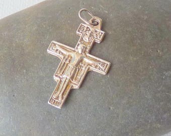 Sterling Silver Cross Pendant Vintage Crucifix Jewelry, Silver Cross, 925 Vintage Cross, Religious Pendant Cross 60's Cross Jewelry