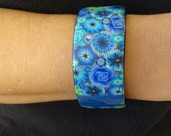 Blue polymer clay flower bracelet
