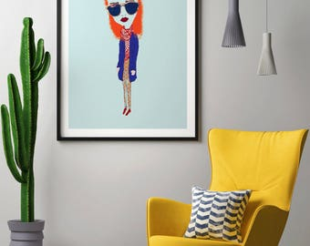 Poster | Illustrated Poster | Wall Decor | Minimal Print Poster | Home Decor | Poster Design | Postcard | Woman | Girl | Hipster