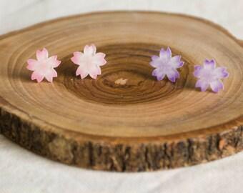 Handmade Shrink Film Beautiful Sakura Cherry blossoms Pink or Purple stud earrings