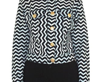 MOSCHINO 90s Heart Art Zig Zag Print Jacket SIZE 44 IT Black White Applique Gold